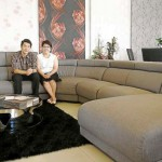 New sofa design: Wong (right) and Lian at the showroomin Plaza Puchong.