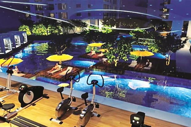 Get fit in style: Residents of The Clovers can look forward to a gym that overlooks swimming pools.