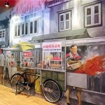 The beautifully drawn murals at the food court add spice to dining.
