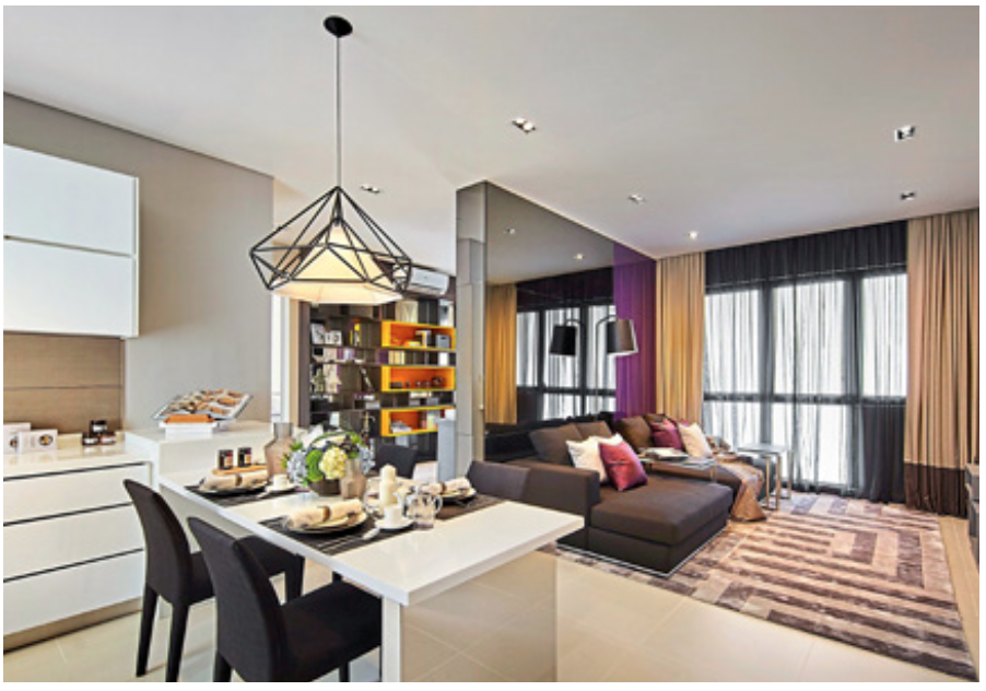 Living and dining areas in each condominium are designed to complement each other.