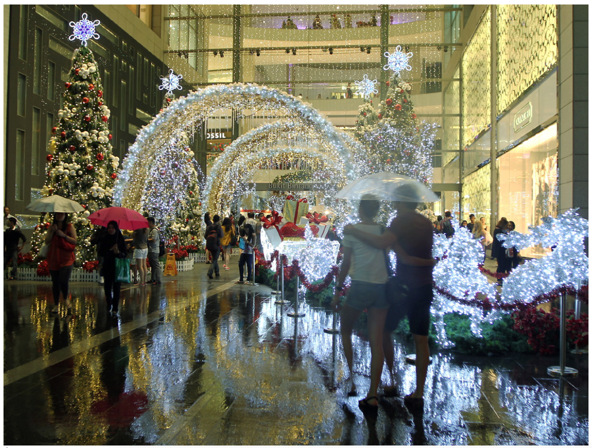 Brilliant, sparkling Christmas decorations adorn the main entrance to Pavilion Kuala Lumpur along Jalan Bukit Bintang..