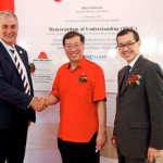 (from left) Wray, Ng, and Wongso after signing the agreement to procure the Ramada brand system for the second tower of Meridin Suites in Iskandar Malaysia.