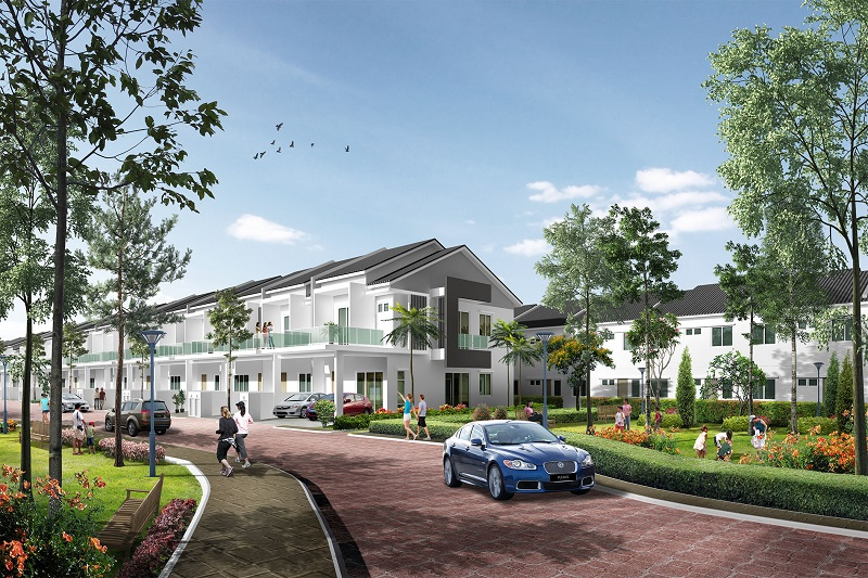 An artist's impression of Raintree Park 2's attractive terrace houses.