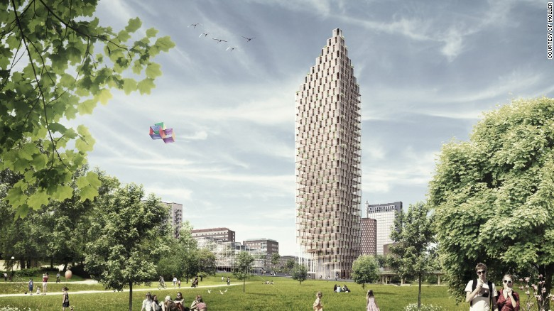 Behold the future, a 34-storey plyscraper residential tower designed for the center of Stockholm, by Architects C.F.Moller, as part of a design competition. Source: CNN