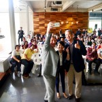 (from left) REI Group ceo Dr. Daniele Gambero, Malaysian Institute of Geomancy Science (MINGS) president Prof. Joe Choo and TAHPS Group ceo Eugene Khoo taking a wefie with the crowd.