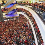 A birthday gift for all: Sultan Ibrahim waving to the crowd below during the pre-launch of the Bangsa Johor Dream House project at Galleria Kotaraya in Johor Baru. — Bernama