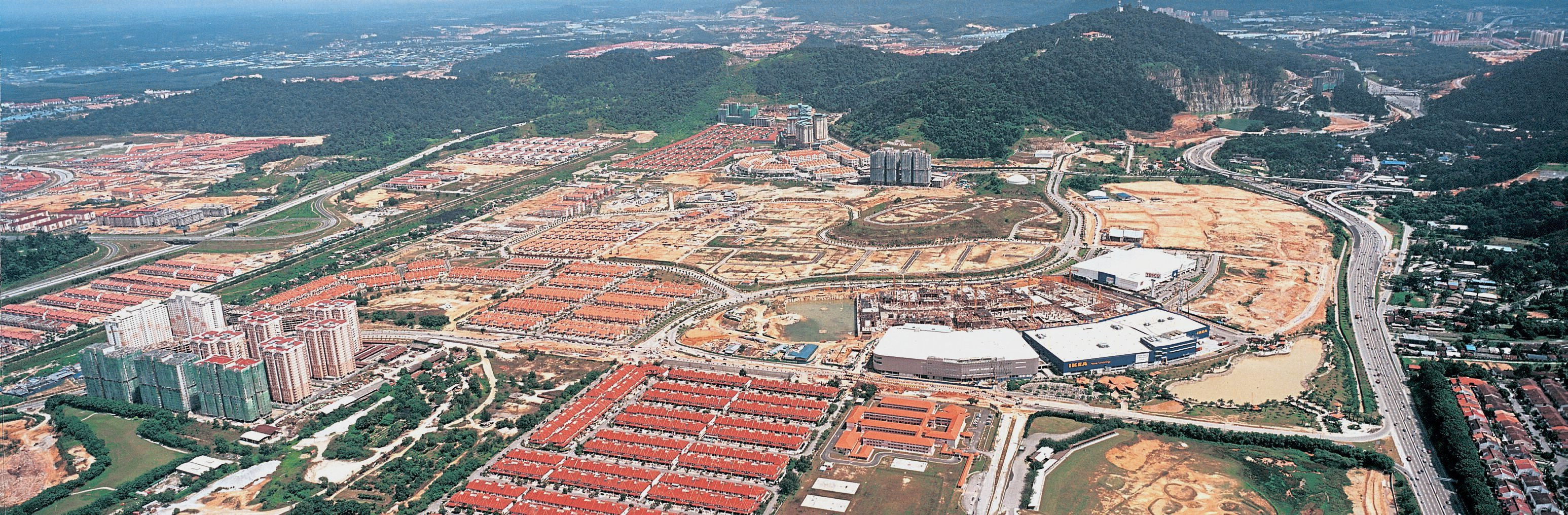 Aerial view of the rapidly developing golden triangle of PETALING JAYA encompassing Damasara Perdana, Mutiara Damansara and Bandar Utama.