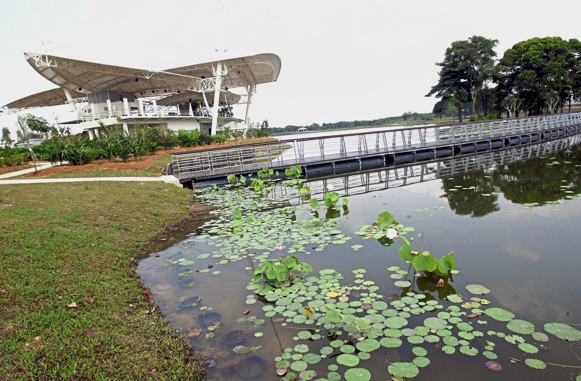"Cyberpark's ""dragonfly""-shaped visitor information centre ""hovering"" above the lake."