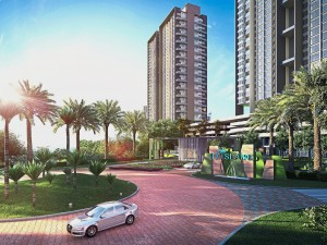 Artist's impression of the serene tropical environment of D'Island Residence.