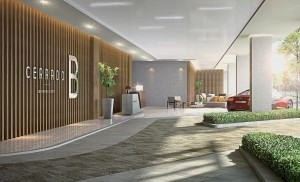 Cerrado features an elegant driveway leading to a stylish lobby.