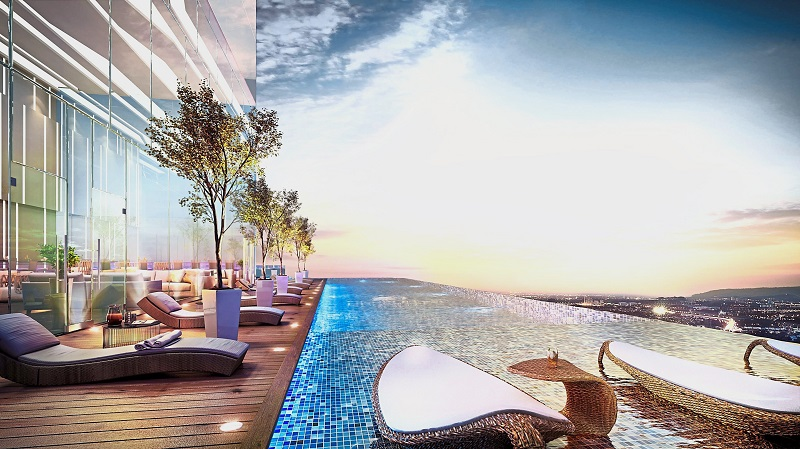 Those who wish to unwind can relax at the cantilevered rooftop infinity pool.