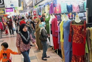 Even on a weekday, PKNS Complex has customers shopping for Raya.