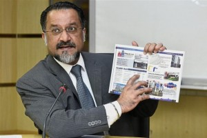 Jagdeep denying the claims on the brochure at the press conference.