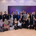 Abdul Rahim Abdul Rahman with the staff at the 40th anniversary dinner.