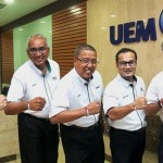 Walking the talk: (From left) Anwar Syahrin, Azman, Izzaddin, Mohd Yusri and Azmir showing that they are one with the AnakAnakMalaysia Walk wristbands.