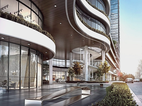A grand entrance and drop off point for the residences and retail – an exclusive living in a haven.