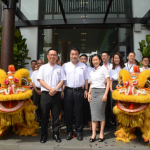 (Left to Right) Jade Hills project general manager Lam Sew Chee, Ngan and head of marketing & sales GG Kam officiating the opening of Jade Hills's new sales gallery.