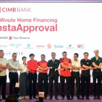 CIMB Group chief executive officer Tengku Datuk Sri Zafrul Aziz (in black suit) with the eight top property developers and CIMB staffs at the launching of InstaApproval
