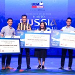 (Two from the left): UEM Sunrise Bhd managing director Anwar Syahrin with the three lucky winners of the grand prize to watch the World Cup Final match in Moscow, Russia.