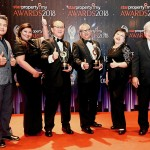 (Centre right) Sime Darby Property Bhd chief operating officer of township development Datuk Wan Hashimi Albakri W.A.A Jaffri and chief operating officer of integrated  Quek Cham Hong (centre left) showcasing their trophies.