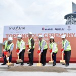 Eupe Group managing director Datuk Beh Huck Lee (third from left) with board members at Novum's topping out ceremony
