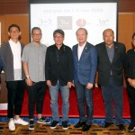 Chris Yap and Dato' Vincent Lim posing after the REKA Interiors Exhibition press conference and Cocktail Reception . Looks on from left Joe Chan, Lai Siew Hong , Sean Yeap, Mohamad Faizal Ghazali and Ooi Boon Seong......-- 17 july 2018 M.Azhar Arif