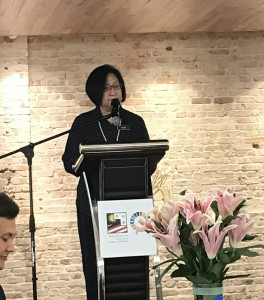 Dr Mary Wong Lai Lin speaking during the launch of the Malaysian 100YC programme.