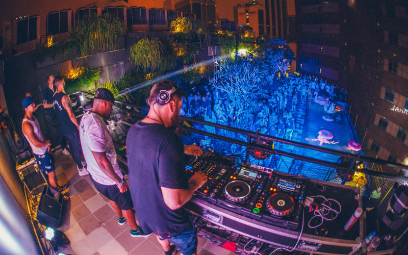 Rudimental's DJ set during the Hotel Takeover at the KL Journal hotel's rooftop poolside bar.