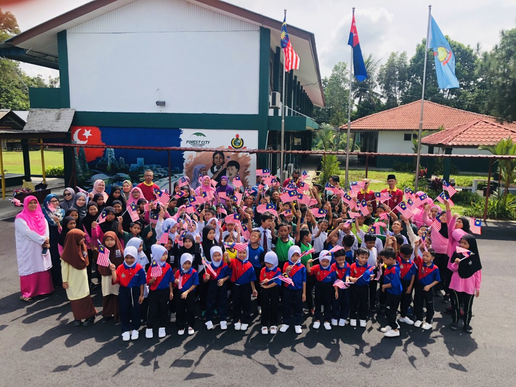 Students gathered to celebrate SK Tanjong Adang Revitalisation