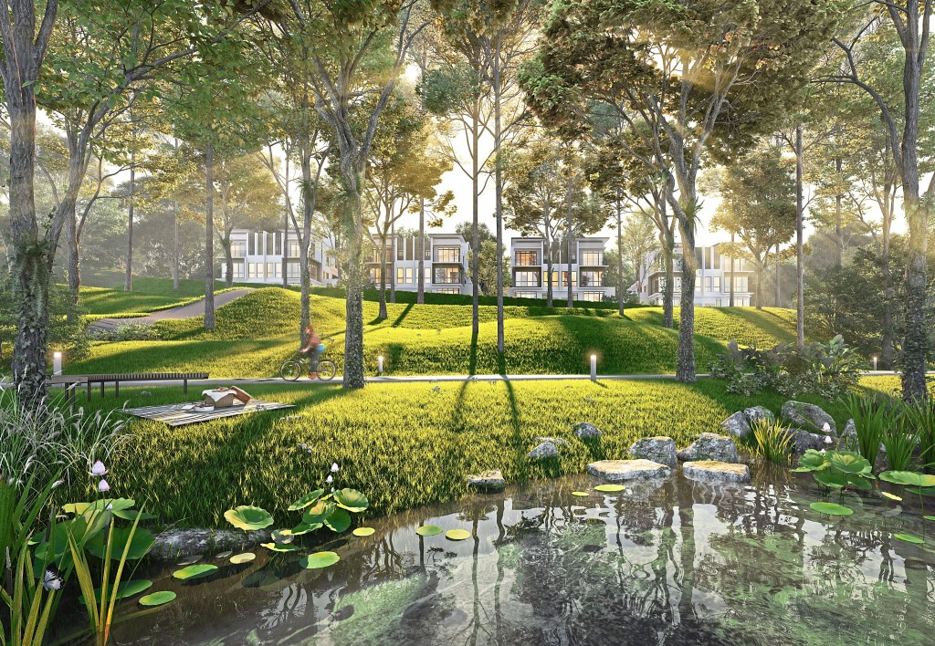 Lakes and gardens are thoughtfully incorporated into the design of the neighbourhood