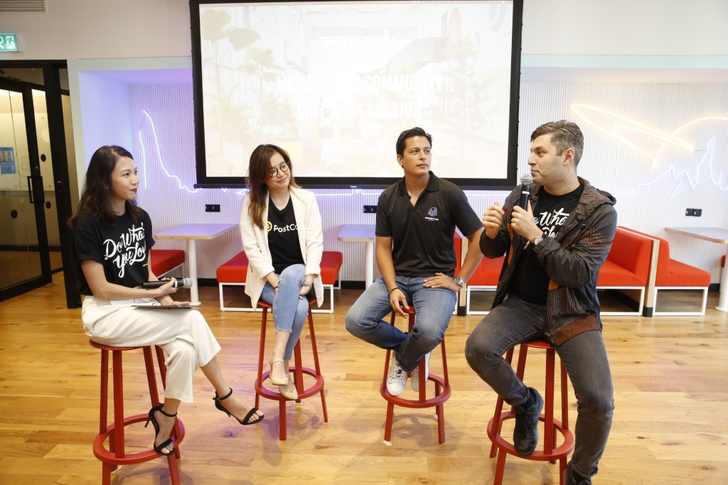 Second from left to right) Melisa Wang, Co-Founder and Chief Operating Officer, PostCo; Hans-Peter Ressel, Founder and CEO, Momentum Commerce, and Eyad Zahra, Head of Community and Member Experience, WeWork Southeast Asia engaging in a panel session on the benefits of being in a WeWork space and how community is powering their success.