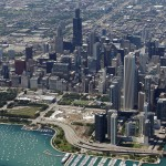 FILE PHOTO: An aerial view shows the skyline and lakefront of Chicago