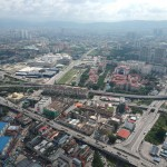 An aerial view of one of Cheras' busiest areas, the convergence between Jalan Yew,  Jalan Pudu,  Jalan Cheras, Jalan Tun Razak, Jalan Cochrane, and the Kajang-Seremban Highway, at the blurry border between Kuala Lumpur and Cheras.