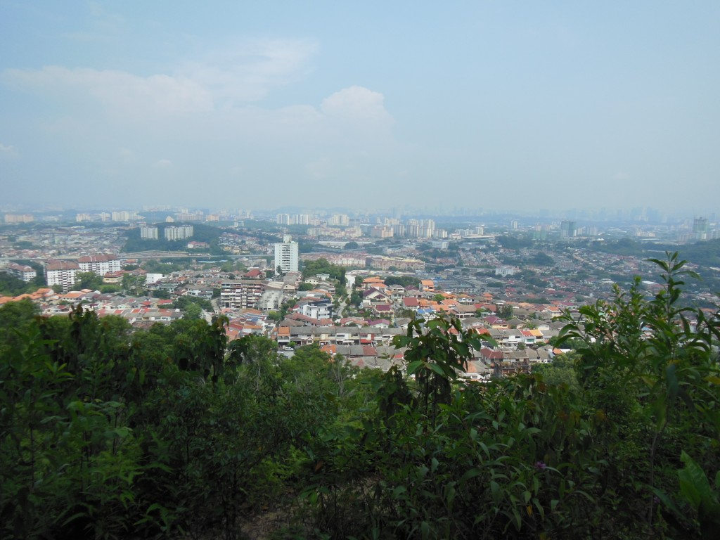 The viewing point at Ketumar Hill that overlooks the residential area of Cheras.