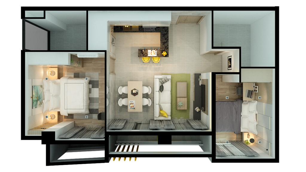 An overview of a typical two-bedroom unit at the BK Apartment.