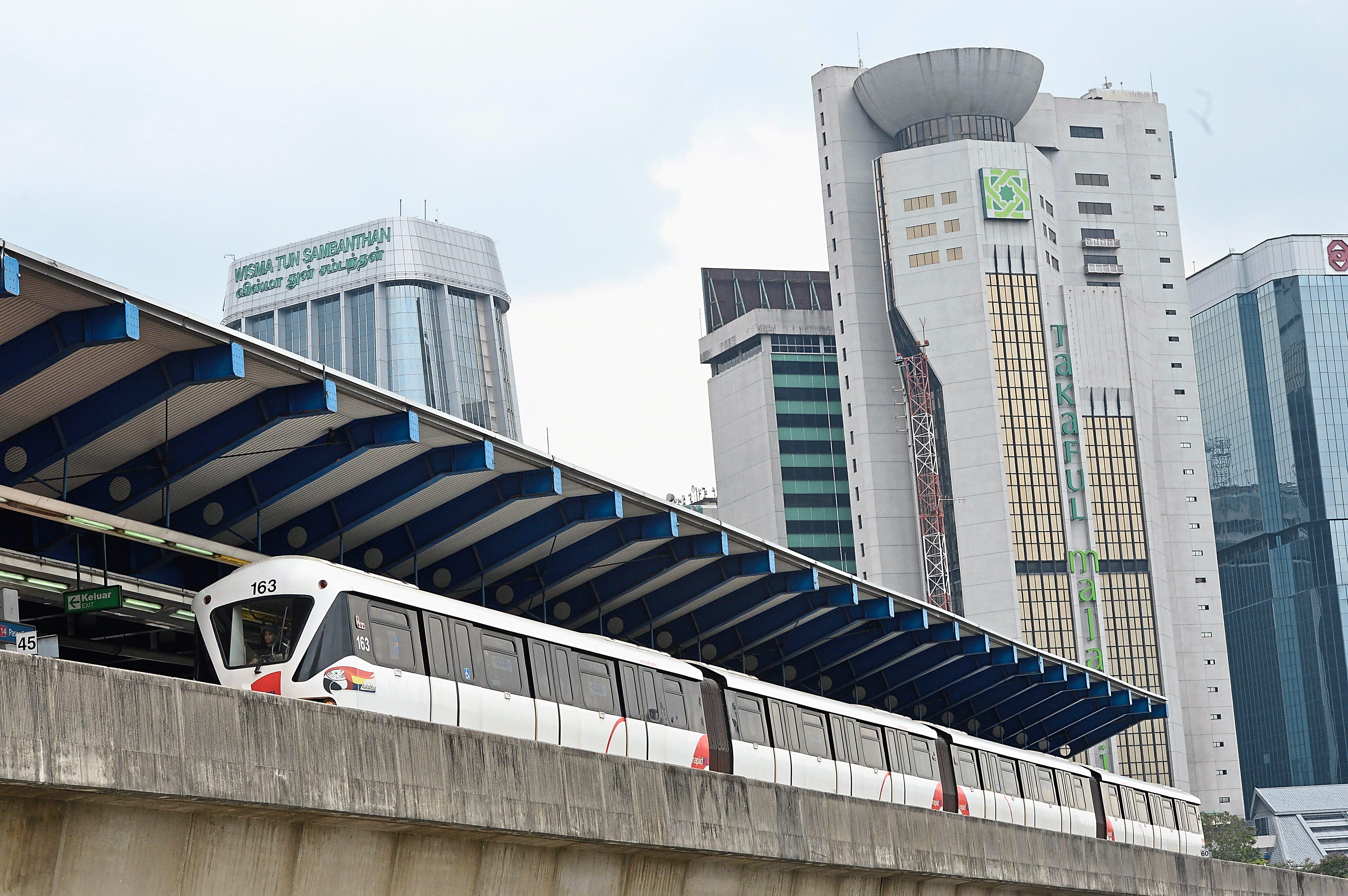 RAPID LRT integrated transport system in Kuala Lumpur.