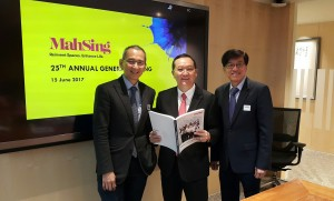 Financial reporting time: (from left) Mah Sing executive director Datuk Steven Ng, Leong and CEO Datuk Ho Hon Sang at the company AGM.