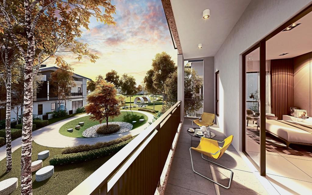 别具一格的现代化阳台,让丽阳丰逸城Cheria Residence的住户得以享受大自然的苍翠。