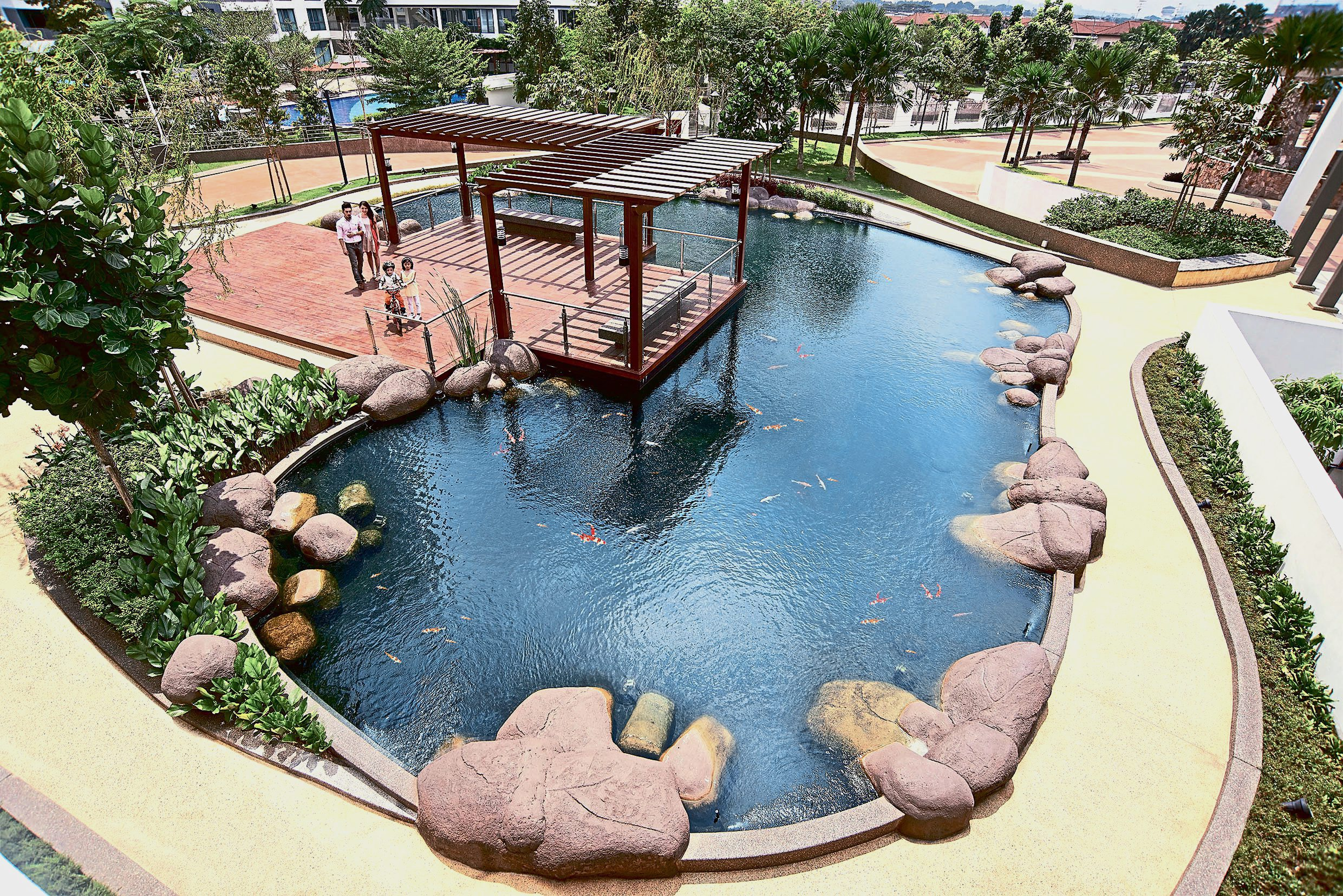 Luxury living in a green building for Koi pond zoning