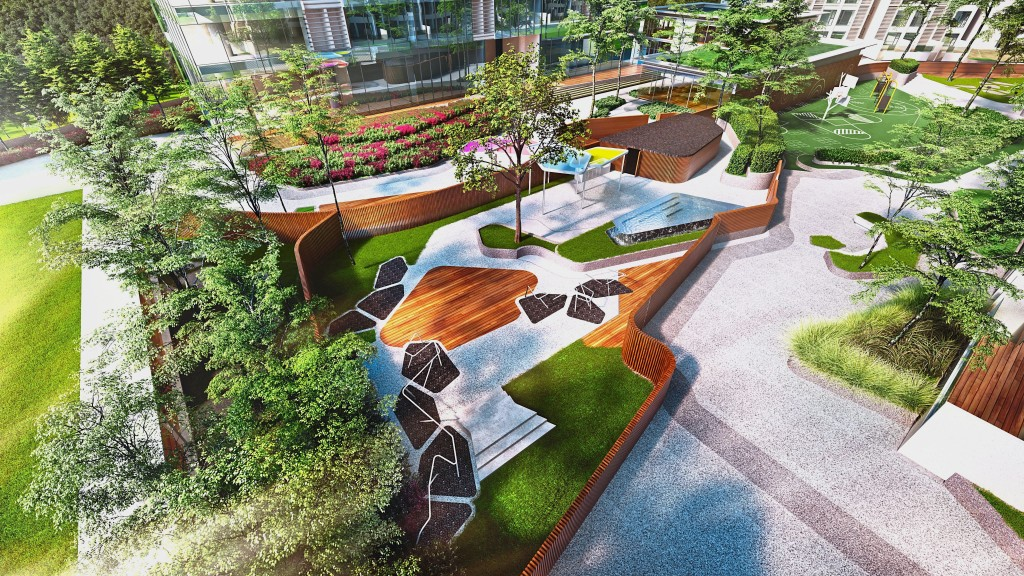 The facilities deck has several green pockets that residents can use to rest and rejuvenate after a hard day's work.