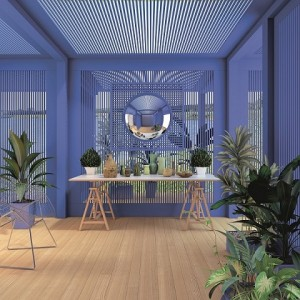 Blue Pergola With Plants And Mirror