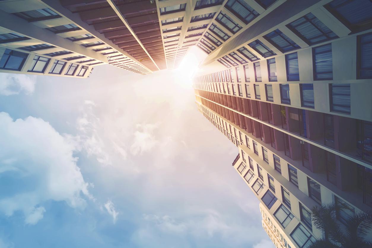 Futuristic architecture cityscape view with modern building skyscrapers