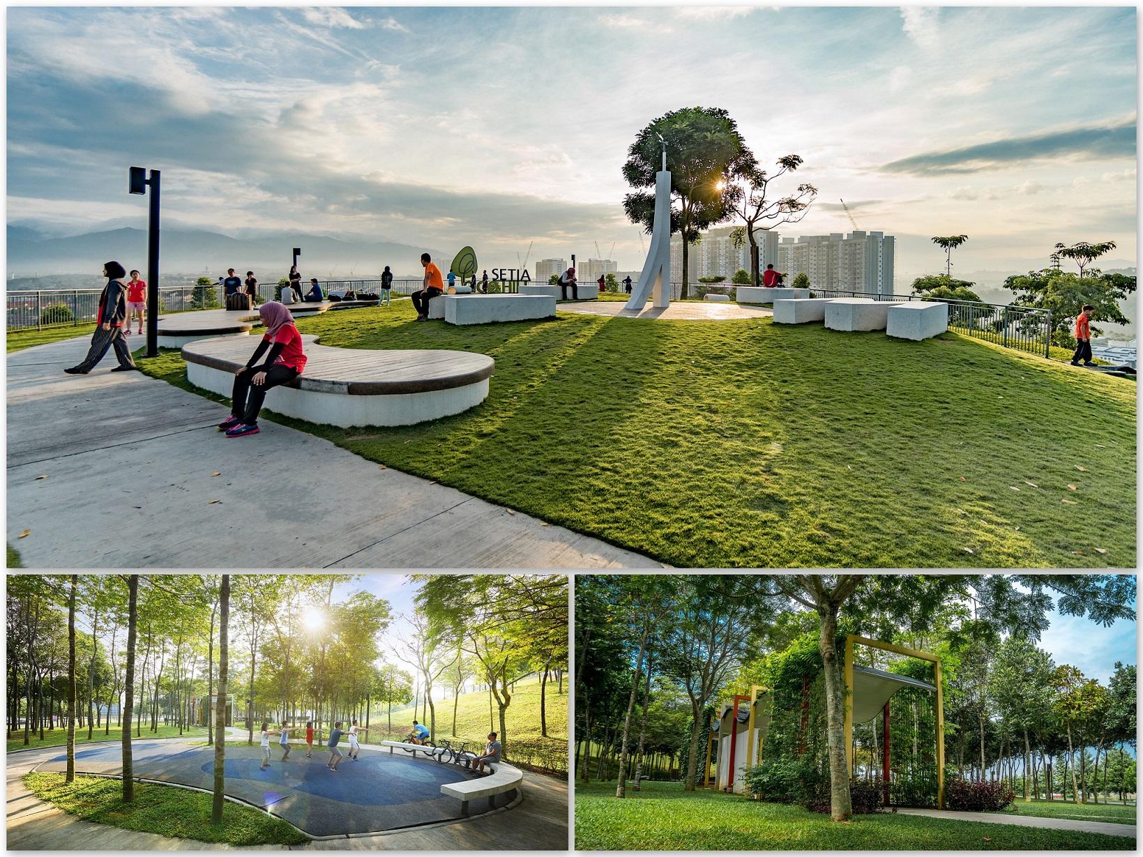 (上图)EcoHill公园居高临下,可以360度俯瞰士毛月景色。(下左)Tai Chi Lawn是居民们在一起打太极拳的绝佳场地。(下右)摩登艺术设计的有盖走道Trellis让访客不必担心受雨淋日晒。