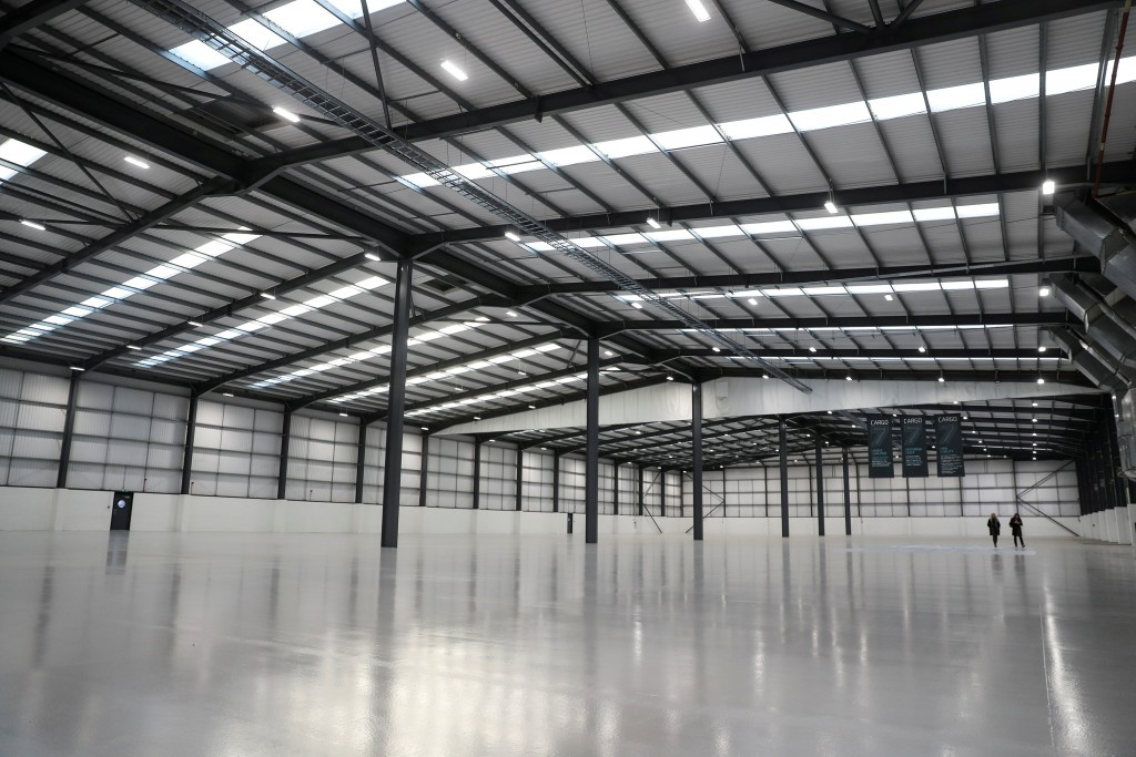 FILE PHOTO: An empty warehouse known as Cargo 777 stands on the Poyle Trading Estate near Heathrow in London