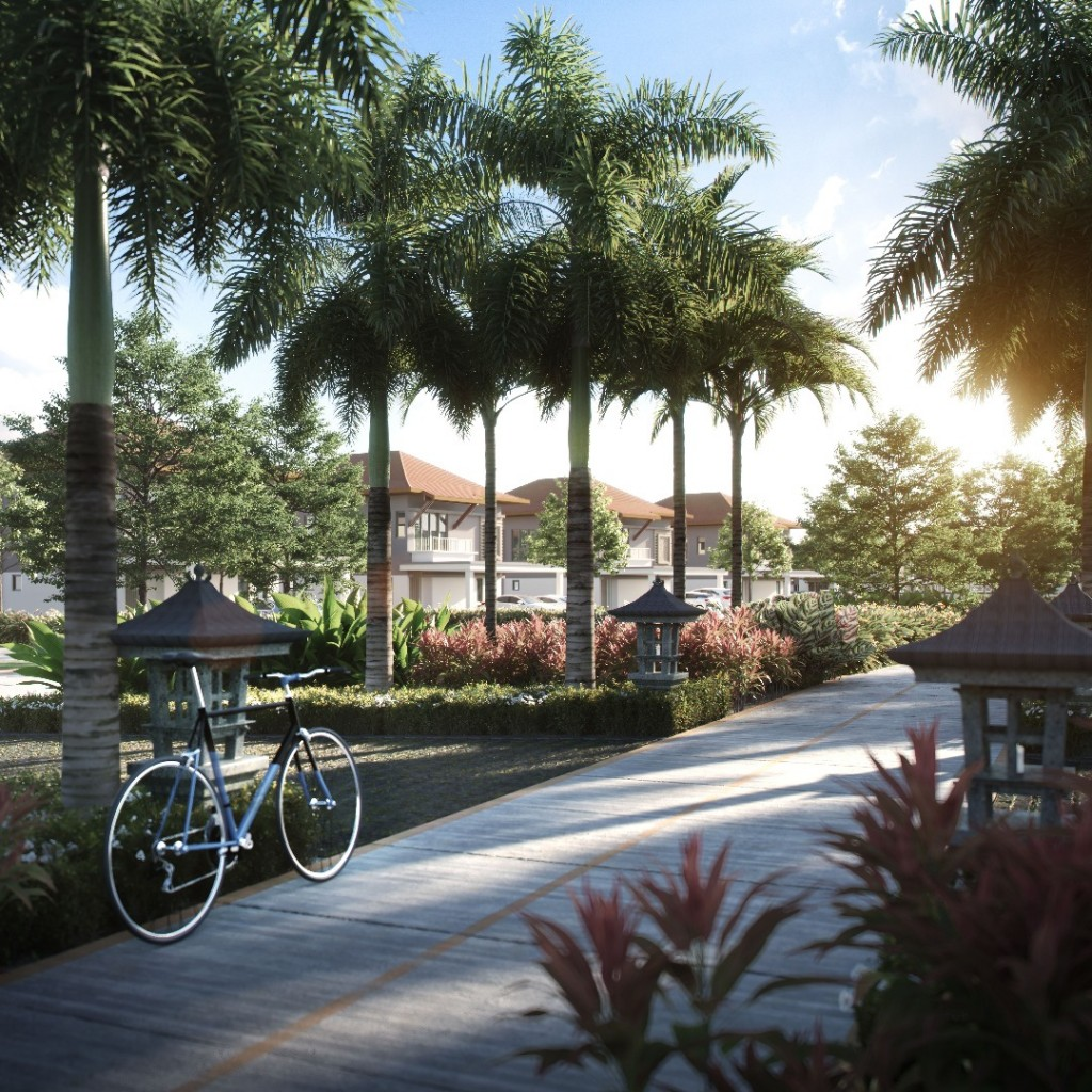 Balinese-inspired landscapes provides a serene place for residents to wind down