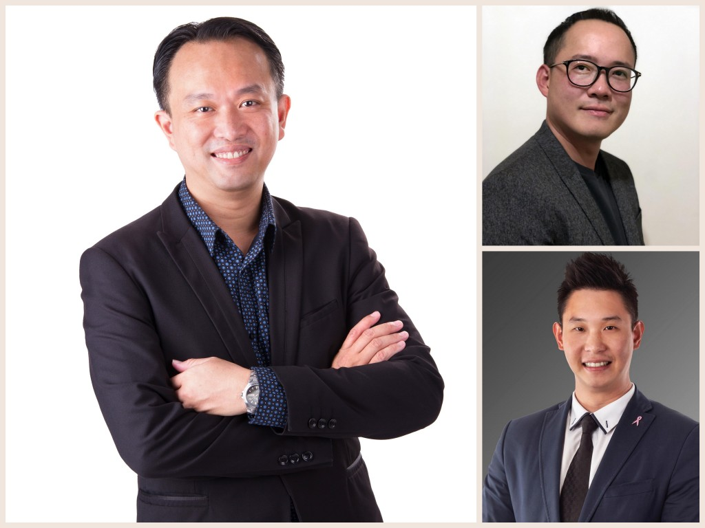 澳洲房地产投资座谈会主讲人张宏征(左)、李钊伟(右上)和刘政康。