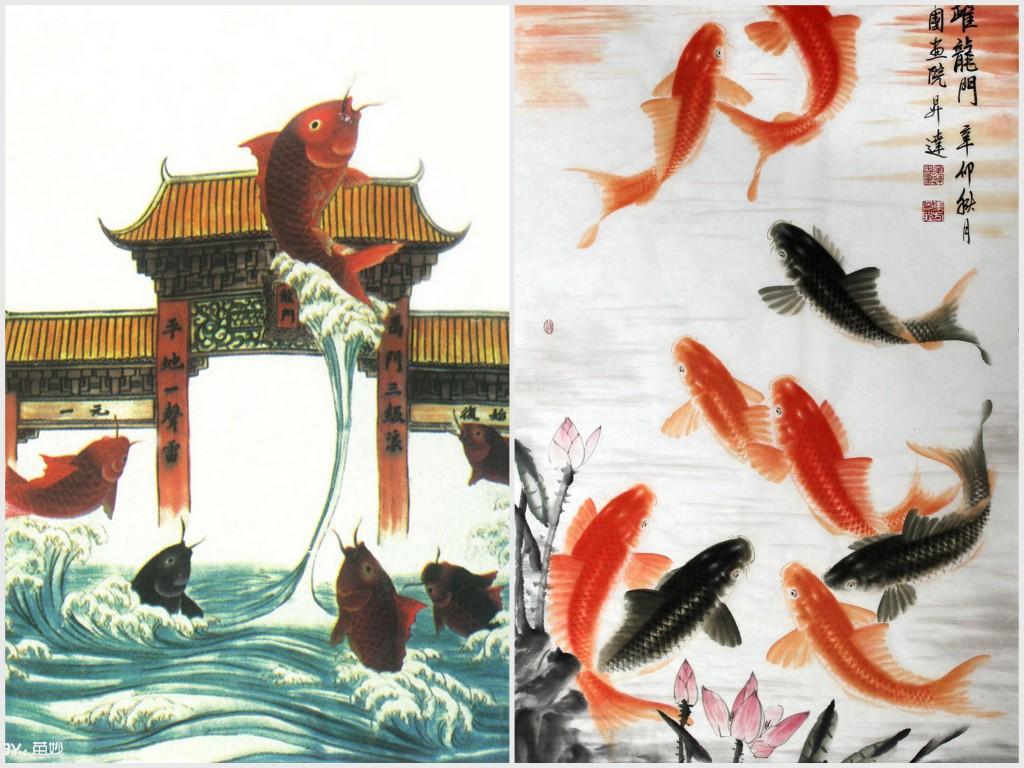 「鲤鱼跃龙门」是普罗大众喜爱的居家画作之一,可以俗气也可以典雅。