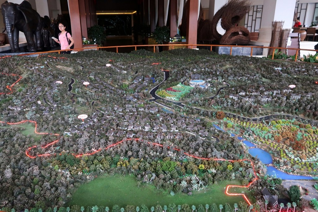 "Model of real estate property ""Viva Villa"" developed by Ping An Real Estate is seen at a showroom in Xishuangbanna, Yunnan"