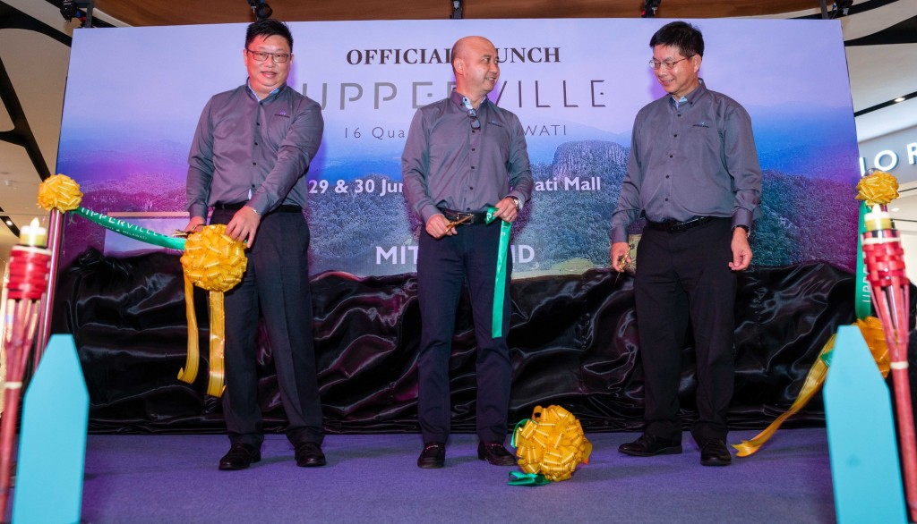 (from left) Mitraland Group CEO Datuk Andy Khoo, deputy executive chairman, Chuah Theong Yee, and executive director Teo Ching Wee unveiled the development to guests at the launching.