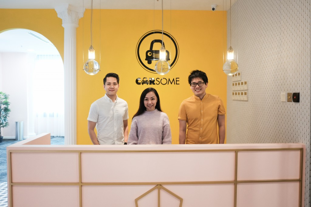 From left: Teoh Jiun Ee (Chief Operating Officer at Carsome), Janice Chin (Regional Director, Marketing and Product at Carsome), Timothy Tiah (co-founder and CEO at Colony) at Carsome's new headquarters.